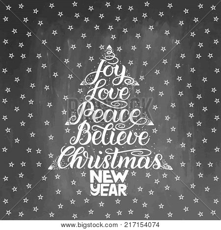 Christmas Greeting Card. New Year lettering with wish of joy, love, peace, believe in frame of Christmas tree. Vector illustration on textured chalkboard background.