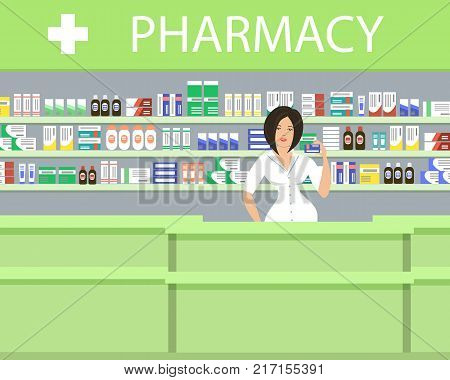 Pharmacy in a green color. The pharmacist woman stands near the shelves with medicines. Vector illustration