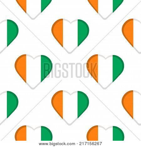 Seamless pattern from the hearts with flag of Ivory Coast. Vector illustration