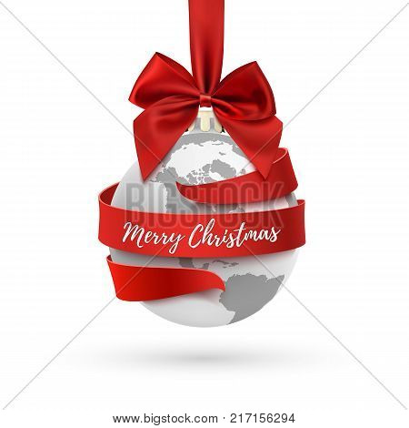 Merry Christmas, earth icon with red bow and ribbon around, hollyday decoration on white background. Greeting card, brochure or poster template. Vector illustration.