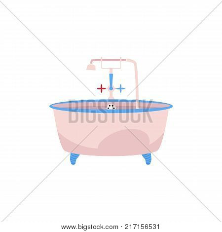 Side view clawfoot bathtub, bath tub with faucet, cold and hot water handles and douche, cartoon vector illustration isolated on white background. Side view cartoon bathtub with water facet and douche