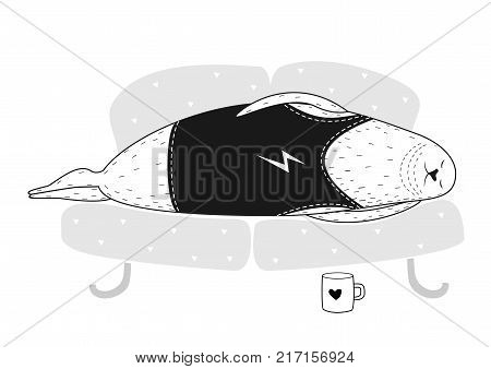 Seal in a hipster t-shirt laying and sleep on the couch. Caricature in vector graphics. Funny poster