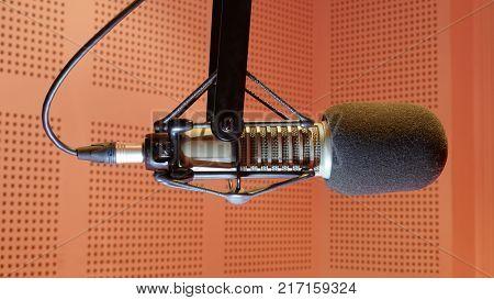Microphone music in audio studio or radio show