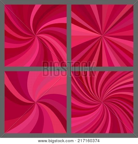 Abstract retro spiral and ray burst background design set