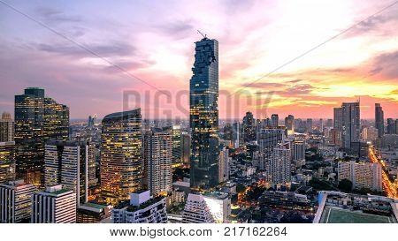 Bangkok City - Aerial view beautiful sunset Bangkok city downtown skyline of Thailand cityscape at night landscape Bangkok Thailand