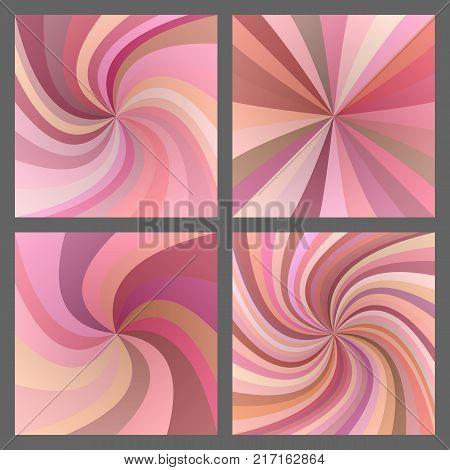 Pink spiral ray and starburst background design set