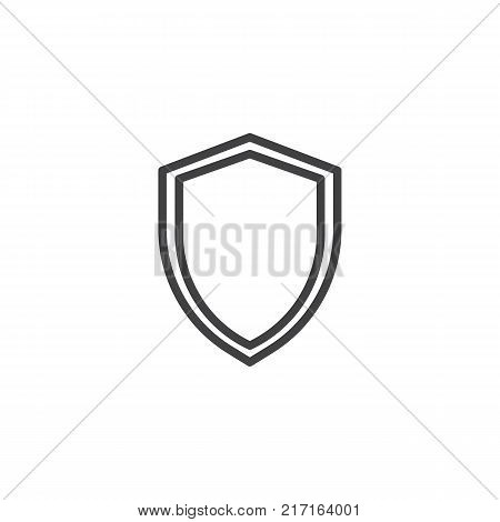 Security shield line icon, outline vector sign, linear style pictogram isolated on white. Protection shield symbol, logo illustration. Editable stroke