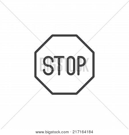 Road sign stop line icon, outline vector sign, linear style pictogram isolated on white. Stop symbol, logo illustration. Editable stroke