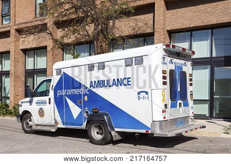 Toronto Canada - Oct 19 2017: Paramedic ambulance services vehicle in the city of Toronto Canada