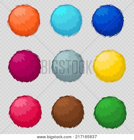 Colorful fluffy pompom fur balls isolated on transparent background. Vector illustration