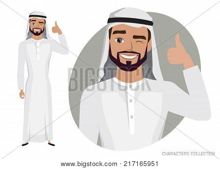 Positive Arab Man character smiling and recommended. Happy man in casual cloth. Laughing man showing thumbs up.