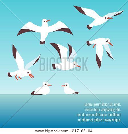 Atlantic seabirds flying background design banner and poster. Vector illustration