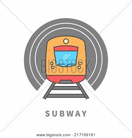 Subway train in the tunnel line icon. Subway vector sign. Design element for poster, brochure. Graphic template for your design.