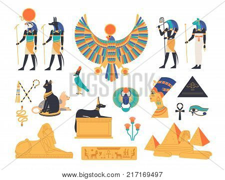 Ancient Egypt collection - gods, deities and mythological creatures from Egyptian mythology and religion, sacred animals, symbols, architecture and sculpture. Colored flat cartoon vector illustration