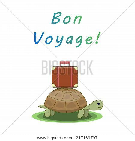 Bon voyage. Turtle goes on a trip with a suitcase. Template for card, flyer, packaging Vector illustration