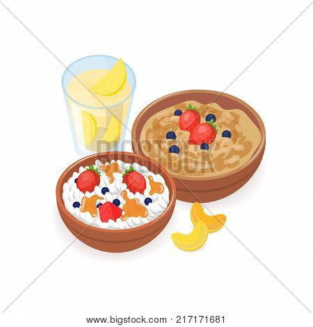 Delicious breakfast consisted of porridge, cottage cheese with berries and honey and glass of homemade lemonade isolated on white background. Healthy tasty meals. Colorful vector illustration