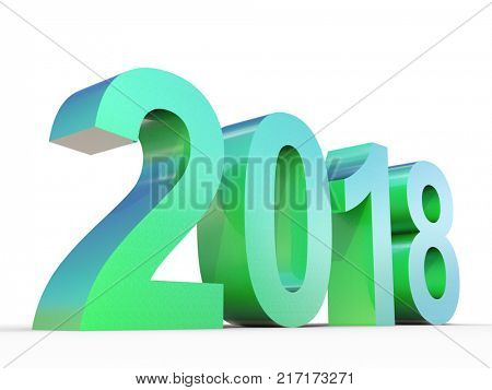 Conceptual 2018 year made of shiny green metal font isolated on white background. An abstract creative rich  holiday 3D illustration, metaphor to future technology, prosperity or business growth