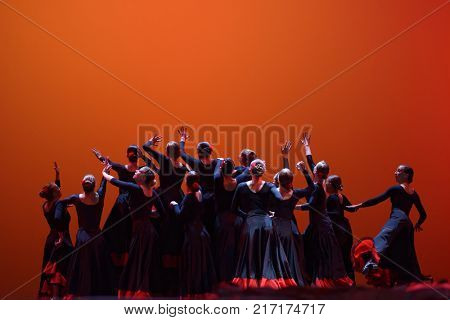 ST. PETERSBURG, RUSSIA - NOVEMBER 16, 2017: Students of St. Petersburg university of the humanities and social sciences perform during anniversary gala concert of great choreographer Oleg Vinogradov