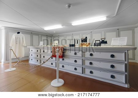 ST. PETERSBURG, RUSSIA - AUGUST 30, 2017: Interior of Ironing room in Yusupov palace. The palace is acclaimed as the Encyclopedia of St. Petersburg aristocratic interior