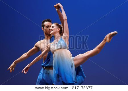 ST. PETERSBURG, RUSSIA - NOVEMBER 16, 2017: Ballet soloists of Mikhailovsky theater Sabina Yapparova and Adrian Blake Mitchell perform during gala concert of great choreographer Oleg Vinogradov