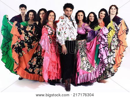 Gypsy dance.a dance show.the national costume.ethnic culture.the photo with blank space for text