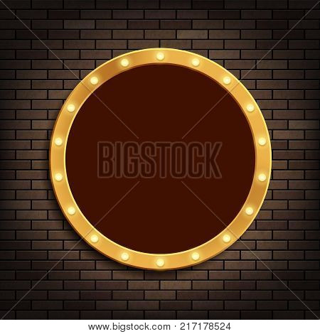 Golden round frame with light bulbs on the brick wall. Stock vector illustration.