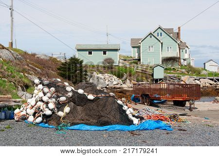 Fishing equipment and houses in Peggy's Cove Nova Scotia