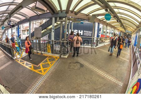 Hong Kong, China - December 4, 2016: Mid-levels escalator, a system of escalators and walkways connecting Central to Western District. The moving walkways between Cochrane Street and Lyndhurst Terrace