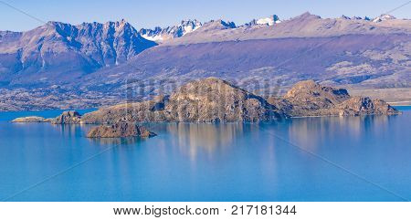 Lake And Mountains Landscape, Patagonia, Chile