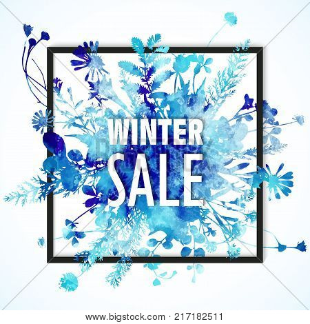 Winter sale banner, blue watercolor leaves and flowers on banner border with winter sale words. Minimalistic seasonal winter banner, blue colors. Winter sale hand draw element, isolated.