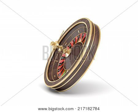 3d rendering of an isolated wooden casino roulette with golden decorations on white background. Casino games. Winning chance. Black or red betting. poster
