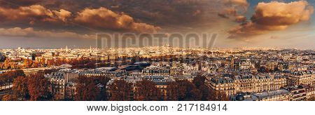 Aerial Panorama Of Paris City In Late Autumn From Maine-montparnasse Tower At Sunset.