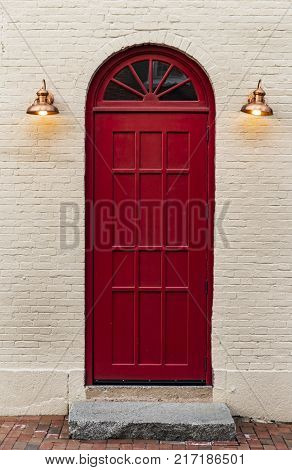 Front Door of a New England house in Portsmouth New Hampshire