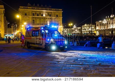 Trieste Italy - August 15 2017: Ambulance car parked near the square Piazza Unita.