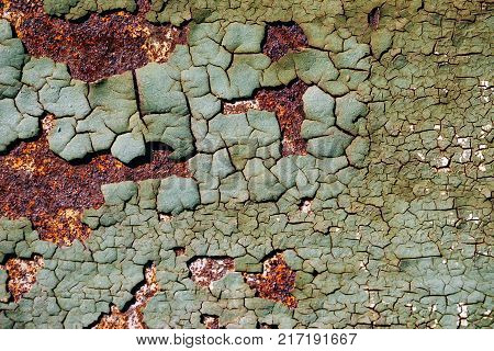 Rusty Metal Surface With Cracked Green Paint, Abstract Rusty Metal Texture, Rusty Metal Background,