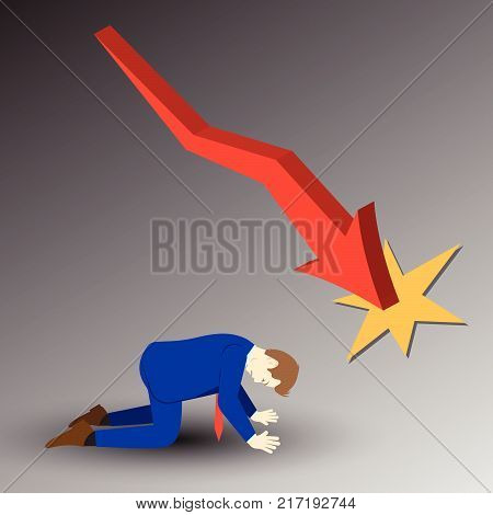 Vector Illustration Business Concept Designed As A Businessman Is Kneeling Under Declining Red Line Graph. He Is Despairing To Decreased Profit; Full Of Disappointment Depression And Discouragement.