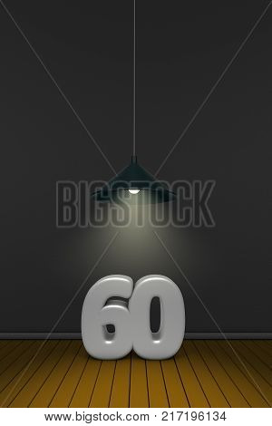 number sixty under a lamp - 3d rendering