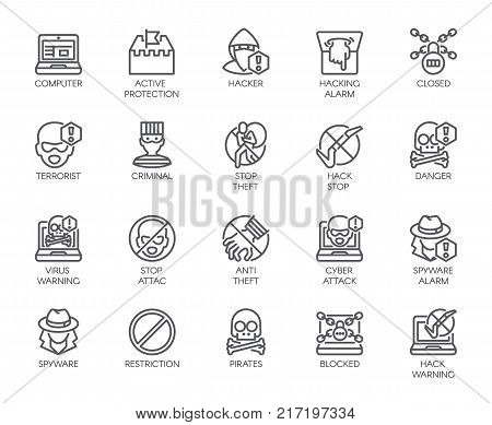 Linear icons of virtual protection, cyberattacks, computer viruses, hacking, stealing and piracy theme . Contour symbols of web protection and warnings. 20 outline vector pictographs isolated on white