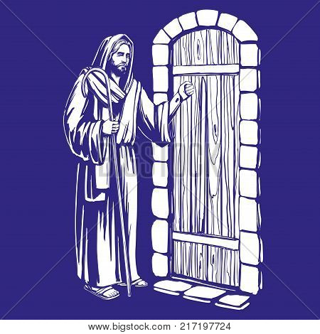 Jesus Christ, Son of God knocking at the door, symbol of Christianity hand drawn vector illustration sketch