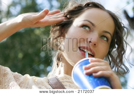 Beautiful Woman Drink Water