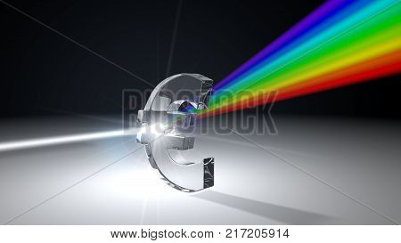 white light ray dispersing to other color light rays via euro shaped prism. with light beam on ray break point. 3d illustration