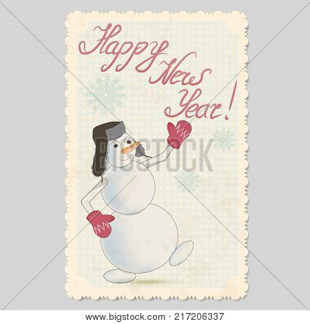 vector vintage card with ornament frame. cheerful snowman in hat with earflaps and mittens. snowflakes and inscription happy new year