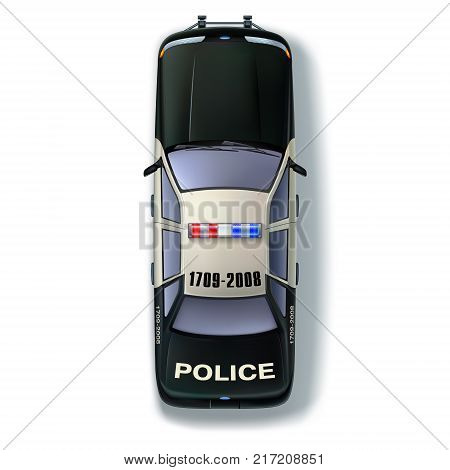 Top view of a police car with international designations