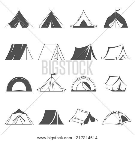 Camp tents set isolated on white background, logo template. Hiking and camping tent vector icons. Tourism and camping symbols