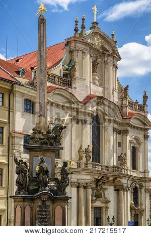 PRAGUE CZECH REPUBLIC - JULY 2: Plague Column of the Holiest Trinity at Malostranske square of city on July 2 2017 in Prague