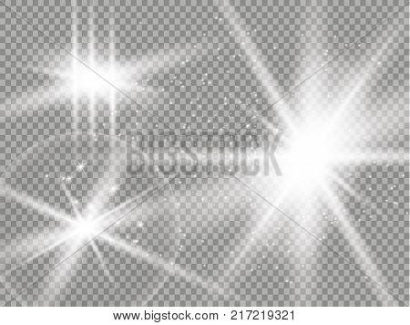 Isolated golden lens flare. Glow transparent vector light effect set, explosion, glitter, spark, sun flash, and star burst. Abstract translucent special element design. Shine semitransparent comet. eps 10