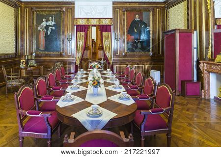 Nesvizh,Belarus-August 5,2017:The Little Dining Hall Used as Living Room for Guests and the Prince's Dining Hall. Also Known as Mosaic Hall in August 5, 2017, Nesvizh, Belarus