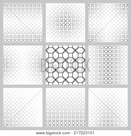 Black and white ellipse grid pattern background set