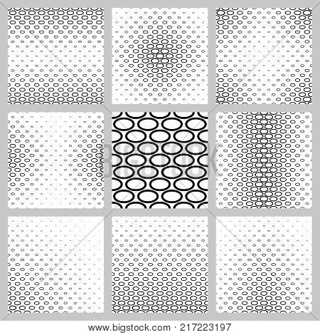Abstract monochrome ellipse pattern background design set