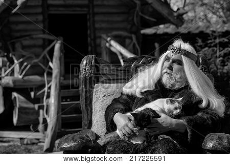 Druid old man with long grey hair beard with crown in fur coat holds two cats and sits in wooden chair on log house background